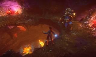 Human wizard and Kerran warrior break through cavern floor to a magma chamber below them